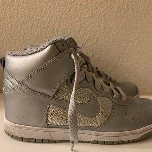 Nike Metallic Silver Glitter High Tops